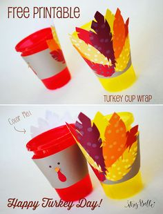 Free Thanksgiving Printables with adorable Turkey Cup Wrap perfect for the Kids Table!