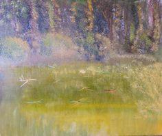 Dragonfly, oil on paper, Öl auf Malpappe von Sabine Katterle