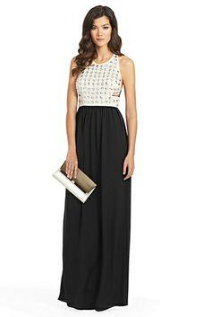 Gidget Crystal Cutout Gown In Black/ Ecru
