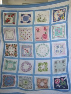 Items similar to Hanky Quilt made from Vintage Hankies - Queen Size on Etsy Vintage Textiles, Vintage Quilts, Quilting Projects, Sewing Projects, Sewing Tips, Craft Projects, Handkerchief Crafts, Vintage Sheets, Vintage Linen