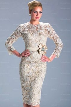 vestidos elegantes high neck evening dress long sleeve knee length lace dresses Start from Evening Dress Long, Lace Evening Dresses, Evening Gowns, Evening Party, Dress Lace, White Dress, Bride Gowns, Wedding Gowns, Prom Gowns