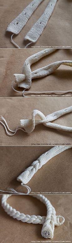 Интересный способ вязаной косички.