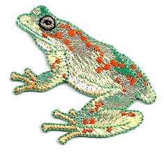 FROG W/SPOTS ~ SHIMMERY/EMBROIDERED IRON ON APPLIQUE
