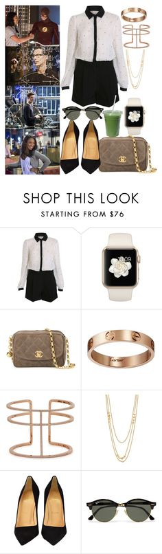"""""""when you´re ready for work at S.T.A.R Labs"""" by ally-xcv ❤ liked on Polyvore featuring Miss Selfridge, Chanel, Cartier, APM Monaco, Gorjana, Christian Louboutin and Ray-Ban"""