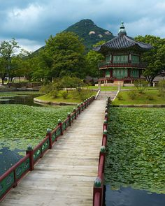 Bridge to Hyangwonjeong Pavilion, Geoncheonggung Palace in Seoul, South Korea