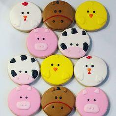 Farm Animal Cakes, Farm Animal Party, Farm Animal Birthday, Farm Birthday, Farm Cookies, Sugar Cookies, Sugar Animal, Farm Cake, Cute Desserts