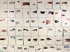 PENELOPE UMBRICO. Bed/Pillows/Paint magazine pages, house paint, 2006-07. Protegida bajo Copyright