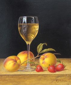 British Artist Roy HODRIEN-White Wine with Peaches and Strawberries