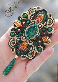 """Beautiful soutache brooch   Купить Сутажная брошь""""Мальва"""" - комбинированный, малахит, сутаж, сутажная техника, сутажные украшения, сутажная брошь"""