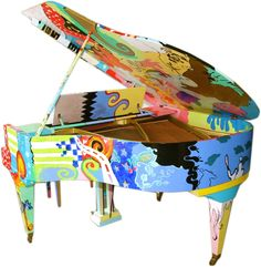 "hand painted pianos | Hand Painted Pop Art Piano ""Artistic Duo"""
