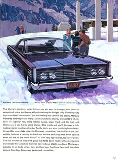 1965 Mercury sales catalog featuring the Monterey 2 door hardtop and noting that Mercury was the chosen courtesy car for the Aspen Meadows resort in Colorado.