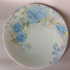 T&V Limoges France Hand-Painted Blue Forget-Me-Nots Plate