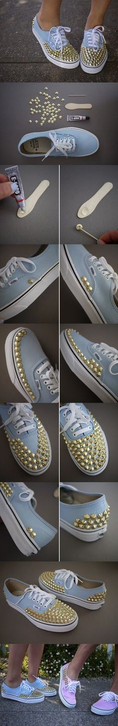 diy studded sneakers Cute Ideas for DIY Girly Sneakers