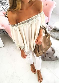 Love the casual off the shoulder with white jeans and flat sandals . . . perfect for summer.