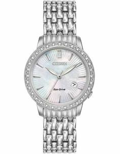 Citizen Eco-Drive Ladies 32 Diamond Dress Watch - Mother Of Pearl Dial -  Date b742fc1d6b