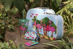 Conjunto de dos maletas diseño flamenco #fiambreras #maletas #vaso #accesorios #animal #cocina #flamenco #flamingo #pink #rosa #almuerzos #divertidos #meriendas #parque #parallevar