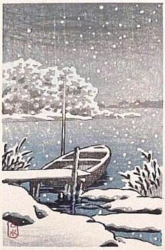 Boat in Snow by Kawase Hasui