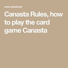 CANASTA RULES