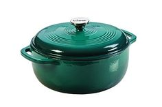 Lodge EC6D38 Enameled Cast Iron Dutch Oven, 6-Quart, Lagoon - A flawless pairing of form and function, the Lodge Enameled Dutch Oven is a classic way to both prepare and serve memorable meals. The 6 quart capacity is perfect for pot roasts, scrumptious stews, or a large batch of beans. Broil, braise, bake or roast in the oven up to 500 Degree F. Great for i...