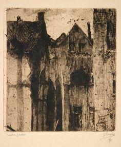 Jules de Bruycker: Old Houses, Brussels 1920 Illustrations, Illustration Art, Etching Prints, Collagraph, Monochrom, White Art, Landscape Art, Dark Art, Painting & Drawing