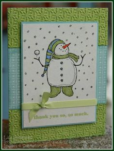 Snowman - Cards and Paper Crafts at Splitcoaststampers Stamped Christmas Cards, Christmas Card Crafts, Xmas Cards, Holiday Cards, Aqua Christmas, Christmas Colors, Merry Christmas, Scrapbook Cards, Scrapbooking