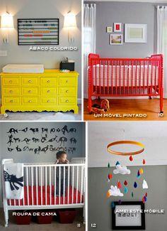 Base cinza no quarto de bebê! Berço vermelho lindo toda vida.