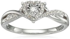 Sterling Silver Diamond Heart Twisted Ring (1/10cttw, I-J Color, I3 Clarity), Size 7
