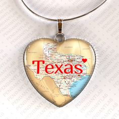Texas Pendant, Texas Necklace, State Heart Necklace, God Bless Texas, Texas Born and Raised, State of Texas Jewelry, I Love Texas, Texas Map by PendantLab on Etsy https://www.etsy.com/listing/150273390/texas-pendant-texas-necklace-state-heart