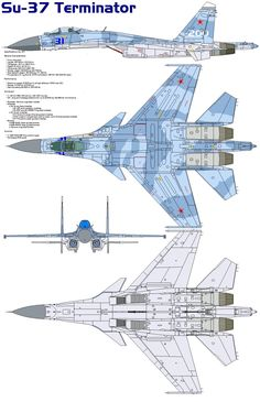 "The Sukhoi Su-37 (NATO designation: ""Flanker-F"") is a Russian multi-role jet fighter aircraft. It is a single seat all-weather fighter derived from the Su-27 ""Flanker"". Development The Su-37 is der..."