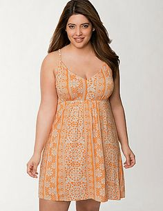 Decadently soft for the best comfort with a charming lace print for feminine charm, our Tru to You chemise offers the best of both worlds. What's not to love about this flattering nightie, with its sexy V-neck, seamed empire waist and ruched racer back? A gorgeous choice for bedtime or lounging! #LaneBryant #Cacique