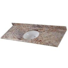 Home Decorators Collection, 61 in. Stone Effects Oval Single Basin Vanity Top in Rustic Gold with White Basin, at The Home Depot . Single Sink Vanity, Vanity Sink, Bathroom Vanity Tops, Bathroom Ideas, Bathroom Cabinets, Bath Ideas, Bathroom Inspiration, Shower Ideas, Water