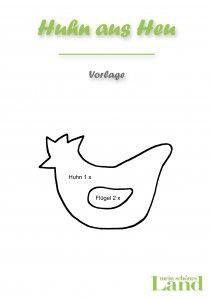 Huhn Vorlage Huhn aus Stroh basteln