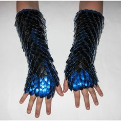 Dragonhide Armor Gauntlets Phoenix knitted scale maille by... ❤ liked on Polyvore featuring armour and gloves