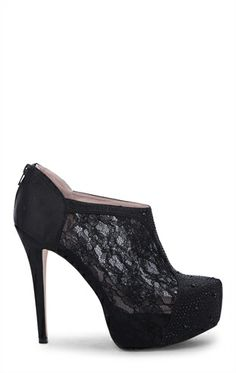 Deb Shops High Heel Lace #Booties with Stone Accents $34.93