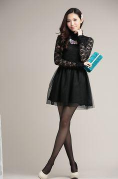 Autumn Fashion Wild Lace Gauze Largesize Dress