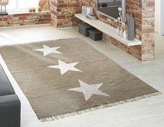TRIPLE 6 #Vintageteppich B/L: ca. 70×140 cm beige mit 3 weißen Sternchen #waschbar bis 30 Grad