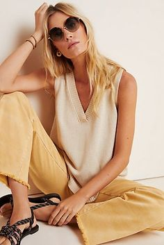 Camilla V-Neck Sweater Tank by Anthropologie in Beige Size: Xs, Women's Sweaters Summer Sweaters, Cute Sweaters, Vintage Sweaters, Sweaters For Women, Oversized Sweaters, Vintage Hats, Sweater Refashion, Sweater Hoodie, Pullover Sweaters