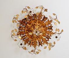 Regency Gilt Florentine Flush Mount Fixture or Ceiling Crown, Italy, 1960s