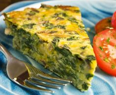 Crustless Spinach, Onion & Feta Quiche [calories: 142, fat: 5.5g, protein: 10.6g]