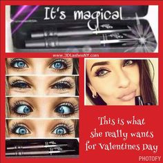 Use these magic wands to make your special lady happy!! 3D Fiber Lash Mascara 2 tubes in a special case one with transplanting gel and one with green tea fibers.  Applied gel, fibers, gel  Thats it.  Washes off with soap, water and a washcloth.  www.3DLashesNY.com