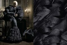 """Match #127 """"High Society"""" editorial by Karl Lagerfeld for Haper's Bazaar July 2012 issue   Black feathers More matcheshere"""