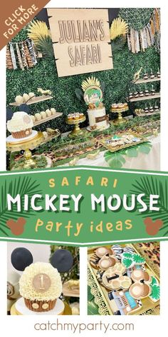 Check out this fun Mickey Mouse Safari birthday party! Love the cookies! See more party ideas and share yours at CatchMyParty.com Mickey Mouse First Birthday, Mickey Mouse Cake, Mickey Mouse Parties, Mickey Party, Safari Birthday Party, Jungle Party, Jungle Safari, Boy Birthday Parties, Bridal Shower Cakes