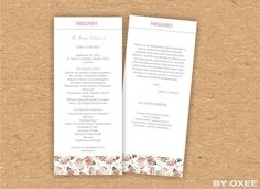 Printable Wedding ceremony program template Vintage roses by Oxee, $7.00
