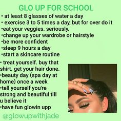 This is an external glo up. Internal glo up is when you accept all your flaws and realize that the best person you can be is you. Yes be a bad bitch but also remember that your worth is not determined by your beauty. School Life Hacks, Girl Life Hacks, Girls Life, Skin Tips, Skin Care Tips, Schul Survival Kits, Planning School, Hoe Tips, Glow Up Tips