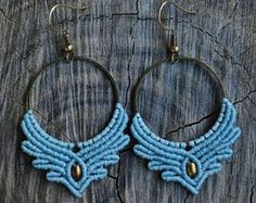 Macrame earrings with thin brass hoops and brass beads