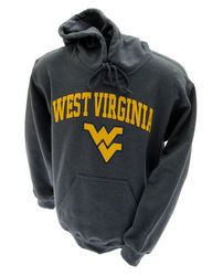 10749075b35 West Virginia Moutaineers Hooded Sweatshirt Charcoal Arching Over Logo  www.WVUClothes.com Football Season