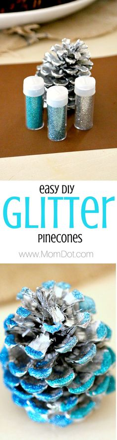 Glitter Pinecone DIY, how to take a regular pinecone and make it look like store bought decor- for half the cost! tutorial and inspiration