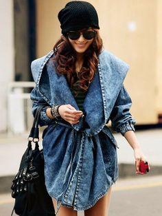 Buy Fashion Denim Trench Coat Hooded Outerwear Jean Jacket Overcoat Denim at Wish - Shopping Made Fun Denim Coat, Denim Jeans, Denim Retro, Vintage Denim, Denim Mantel, Estilo Denim, Mode Mantel, Mode Jeans, Korean Fashion Styles