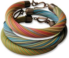 Magnificent twisted bracelets, created by Russian Designer Maria Belkomor, featured on Polymer Clay Daily.