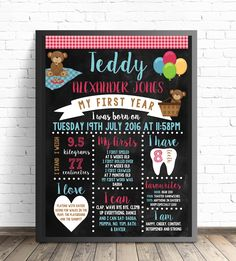 Digital File Photoshop or Printable Simple Blue Balloon Birthday Chalkboard Any Age